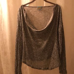 Fun & Casual silver shimmer sweater top for  beach